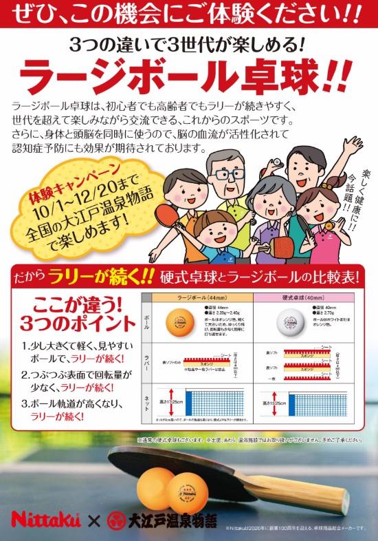 ニッタク×大江戸温泉ラージボールコラボ